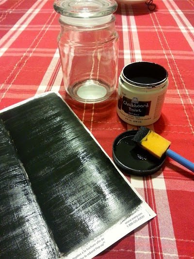 Chalkboard, chalk, label, made, paint, happy, thoughts, jar, remember, thankful