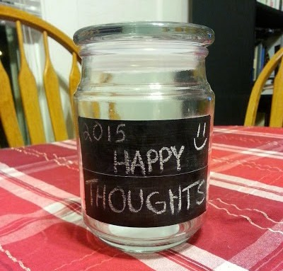 Happy, thoughts, jar, remember, thankful